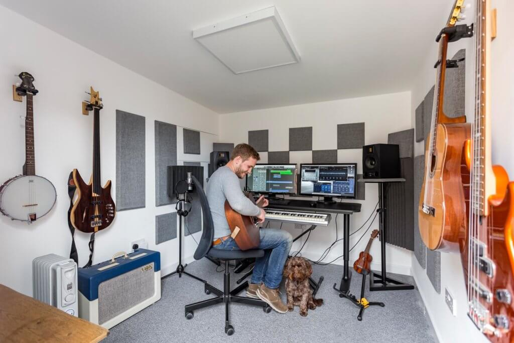 garden music studio interior with acoustic treatment