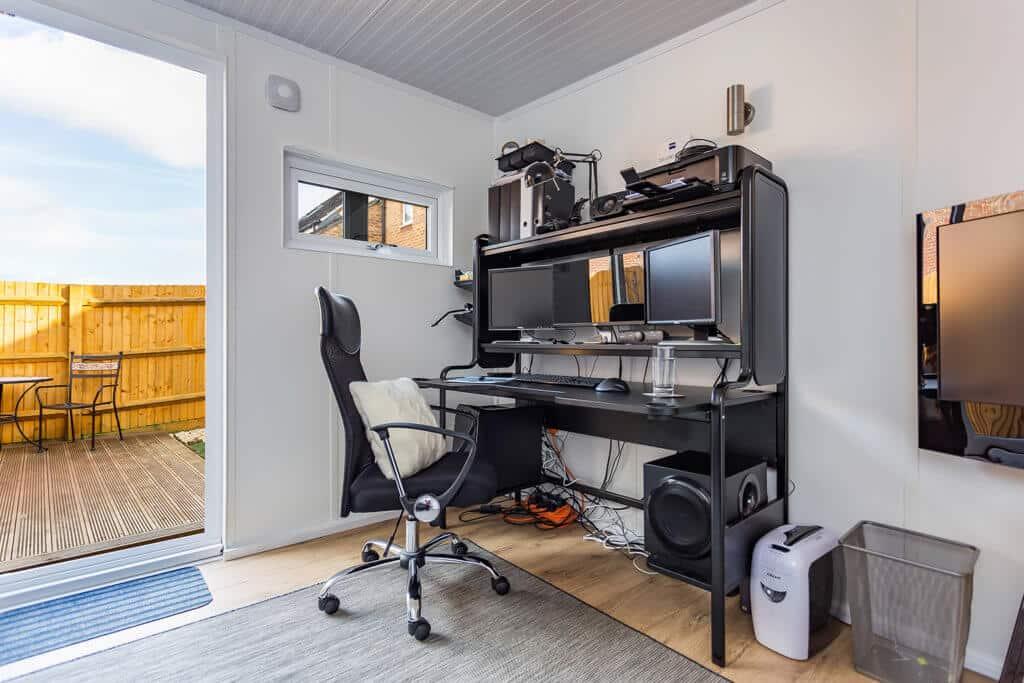 office desk in garden office