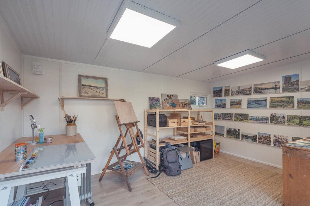 artist retreats with canvas storage and painting