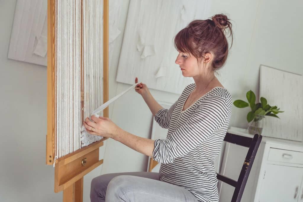 Saskia Saunders in her garden studio