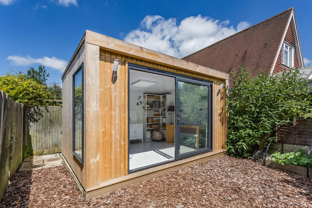 small garden room used as an art studio