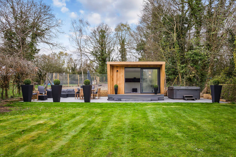 garden room in large landscaped garden