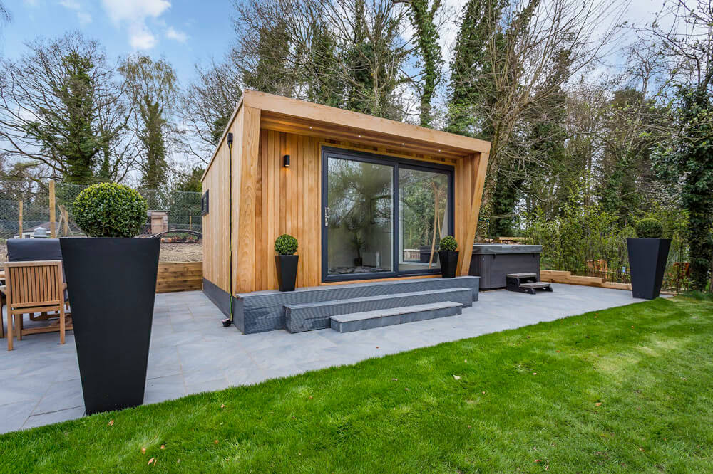 garden room with large sliding doors