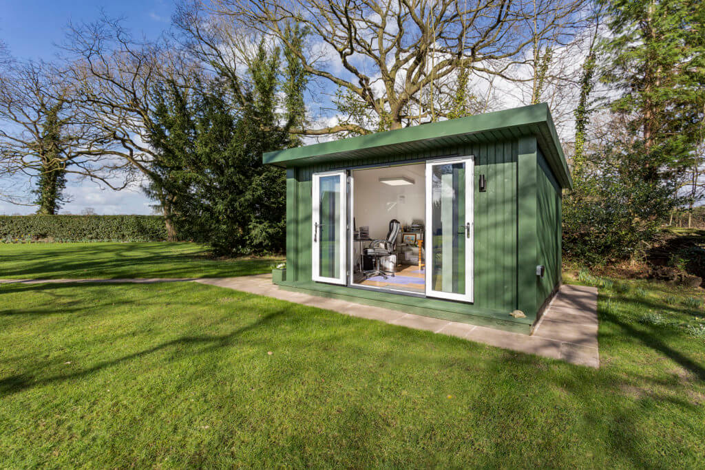 green painted garden room