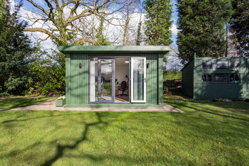 garden office in large garden with french doors