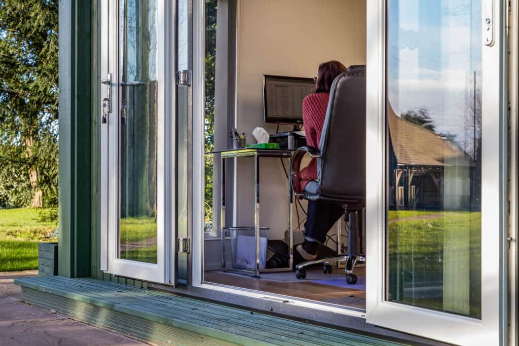 french doors on a large garden office
