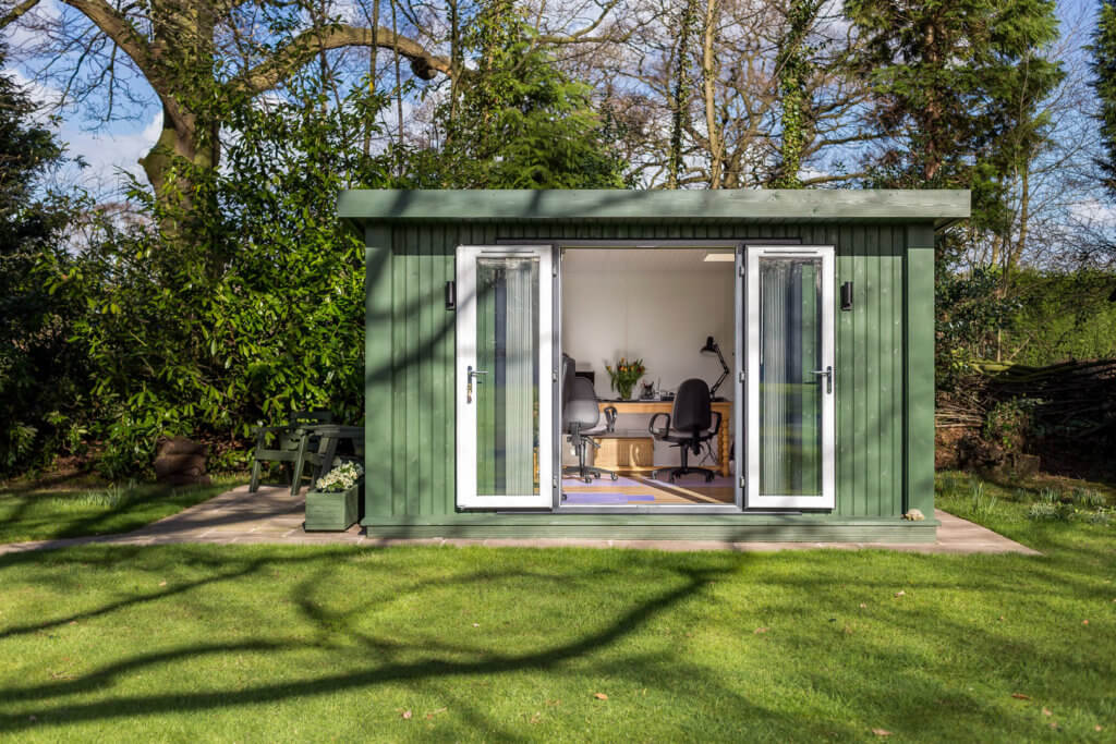 green garden room in large garden used an an office