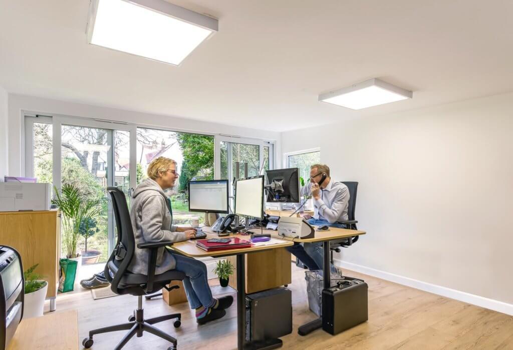 two person garden office interior