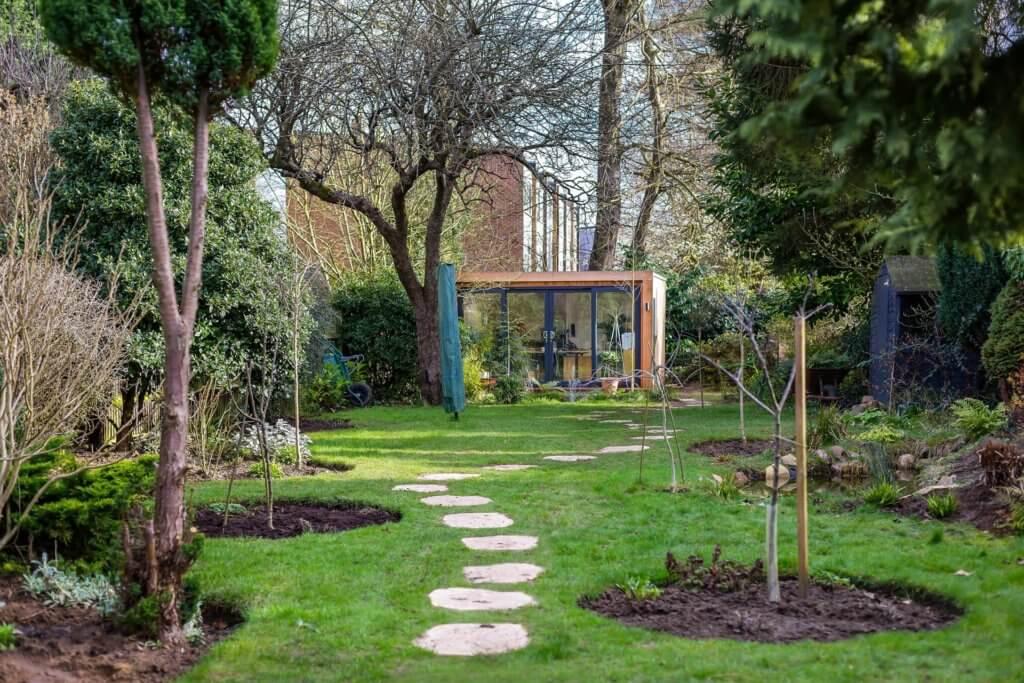 garden office hidden at the end of the garden