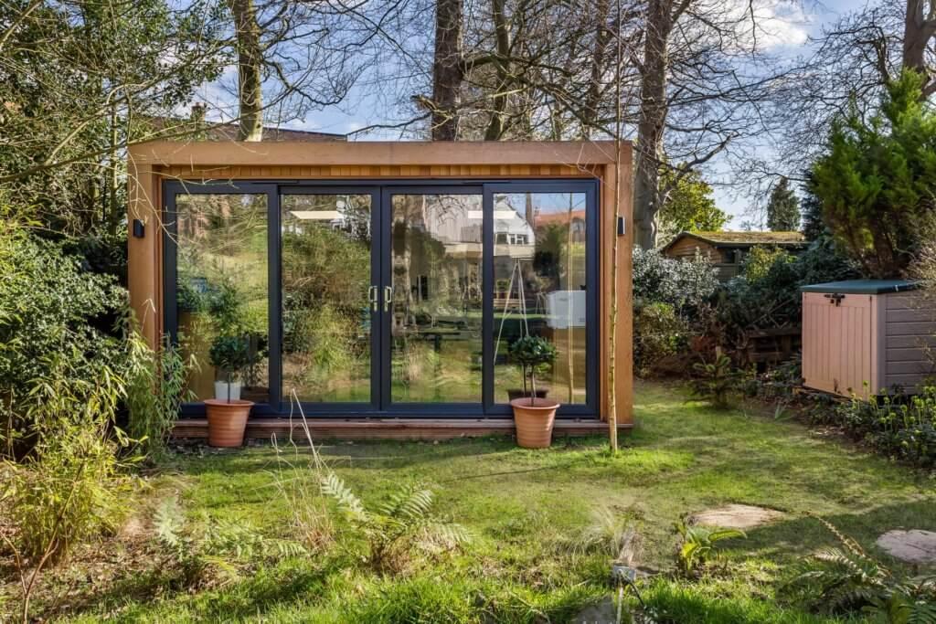 garden room in wooded garden