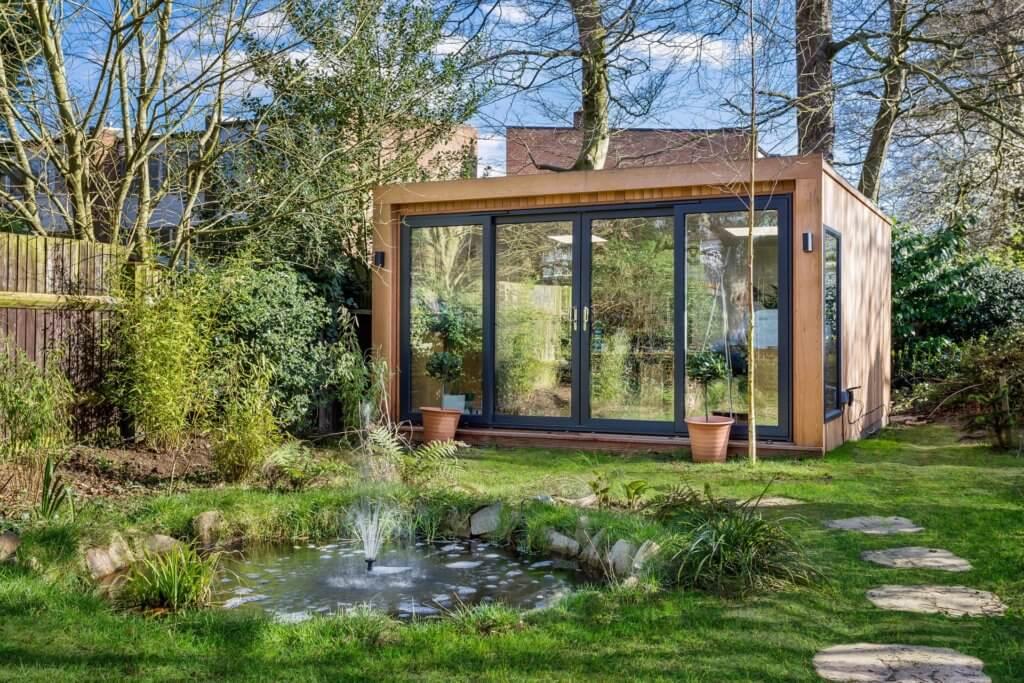 garden office in rustic garden