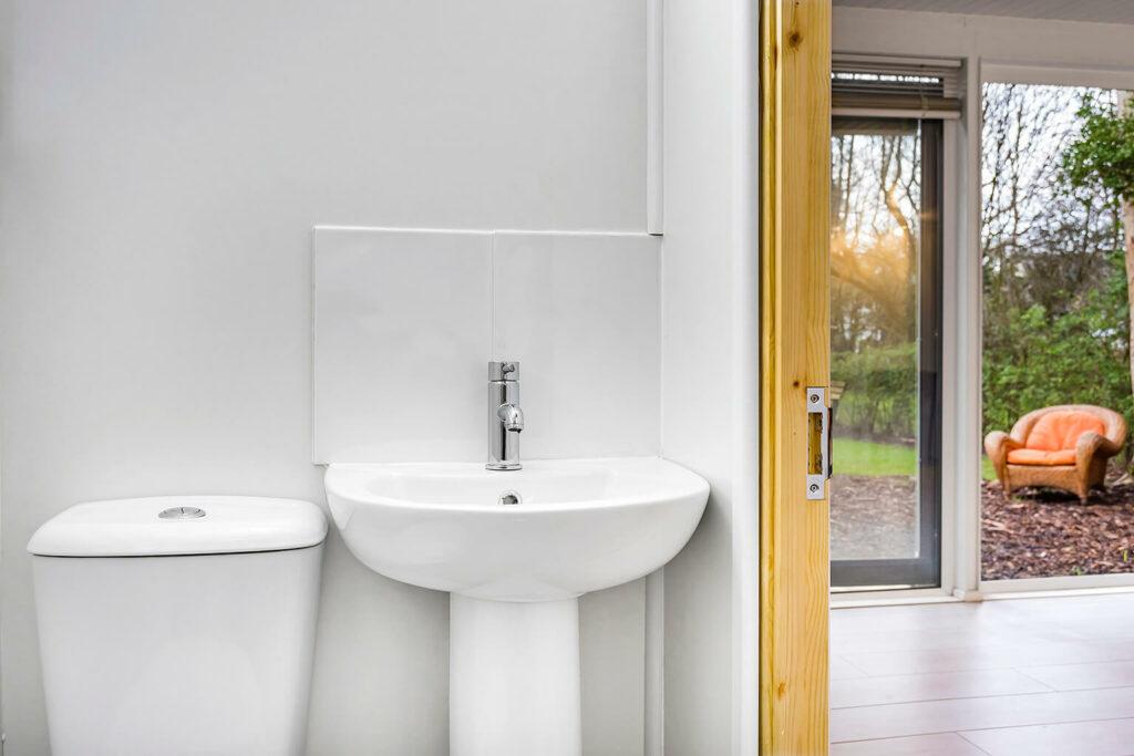 bathroom space inside a garden room