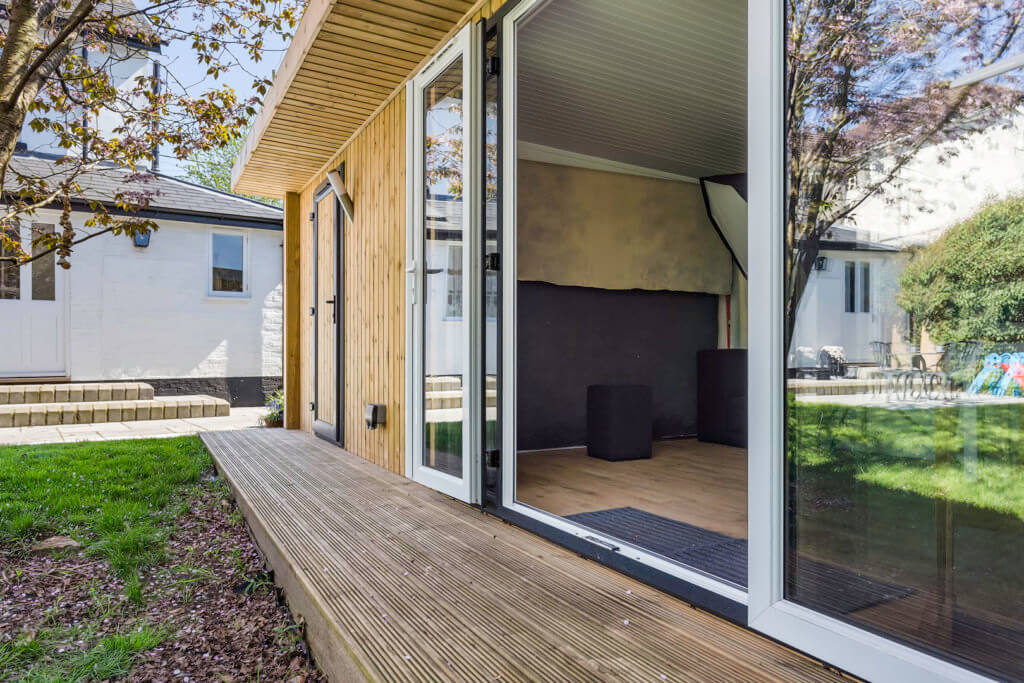 Large home photography studio with french doors