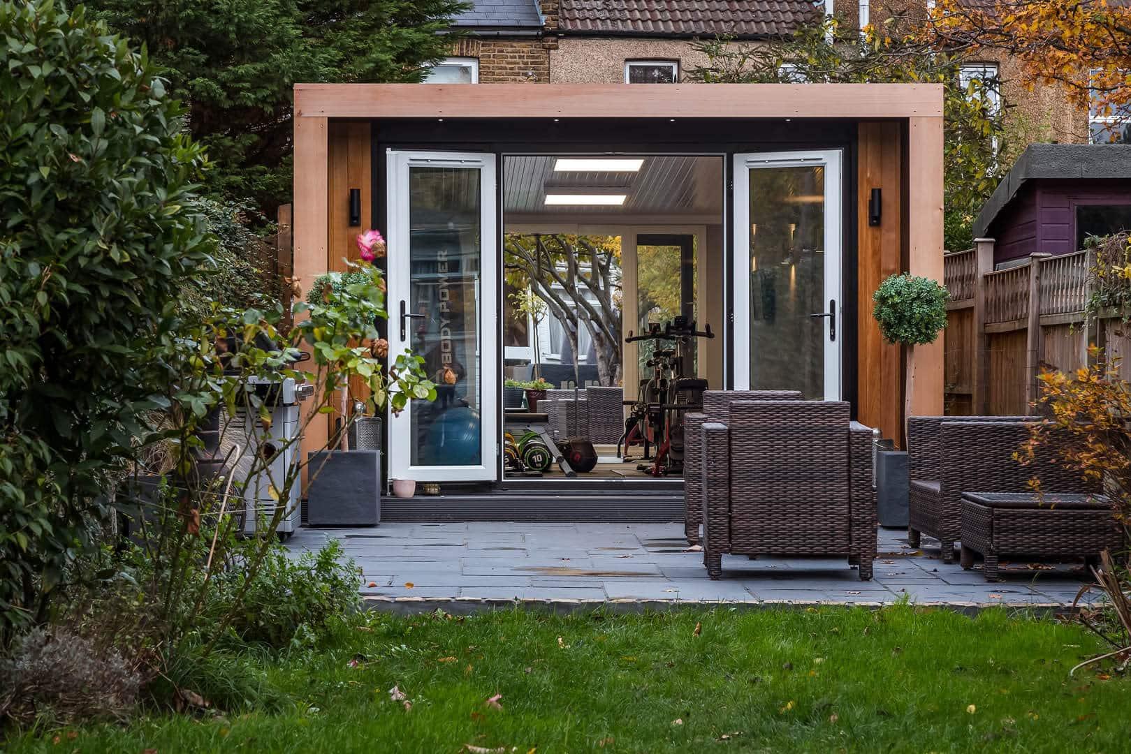 Home gym with doors open