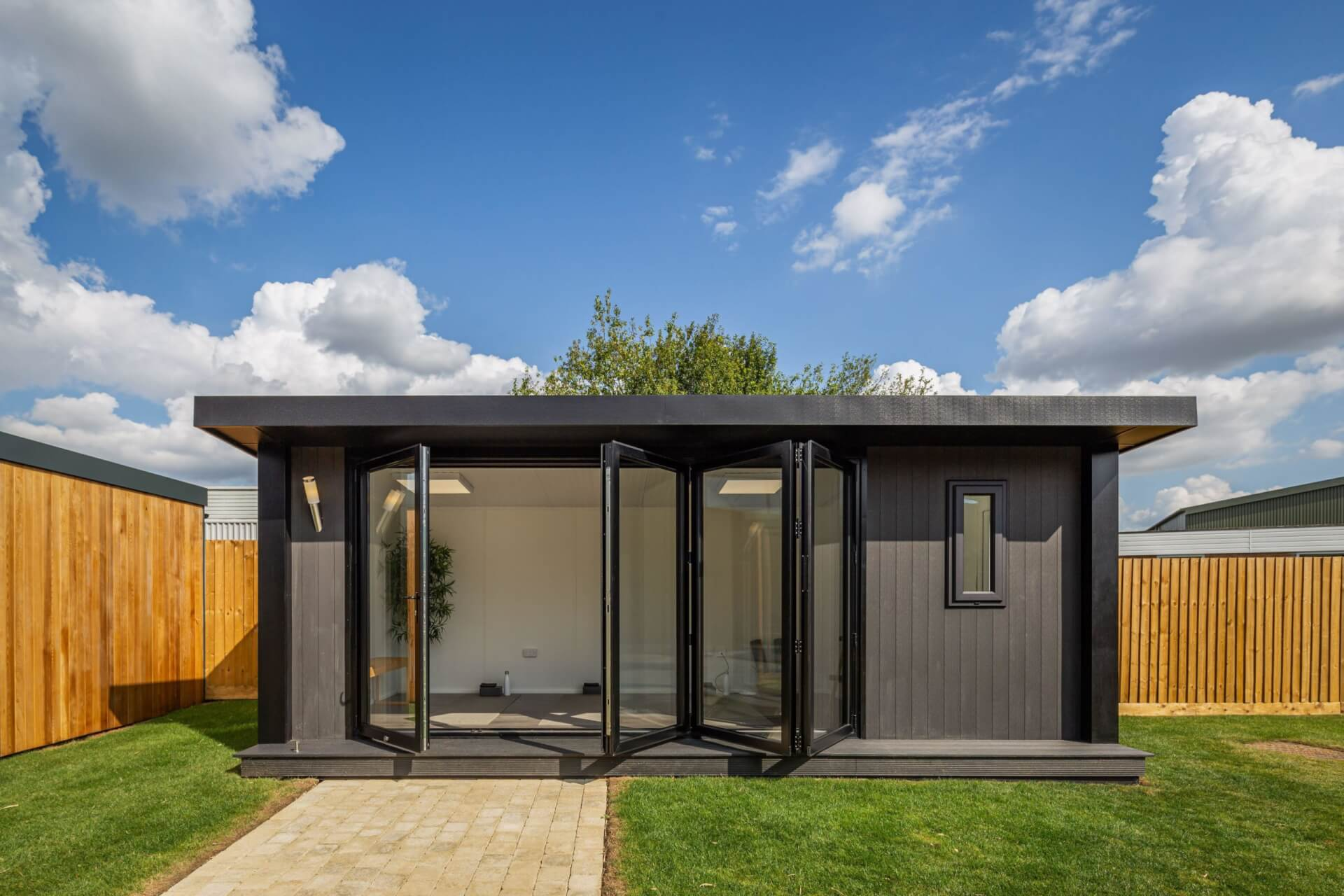 garden yoga studio with bi-fold doors