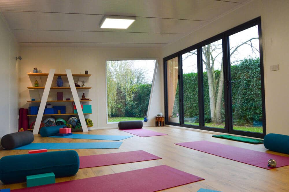 large interior of home yoga studio
