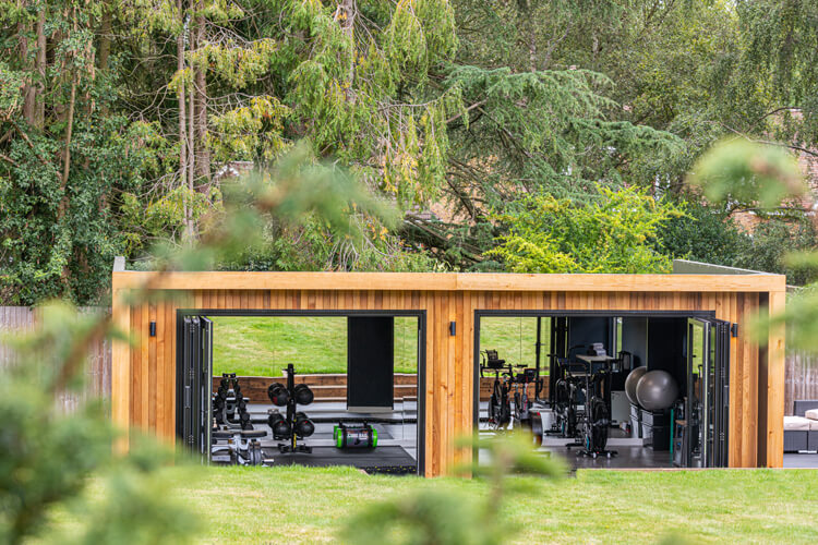 Exterior of Edge home gym with bi-folds open