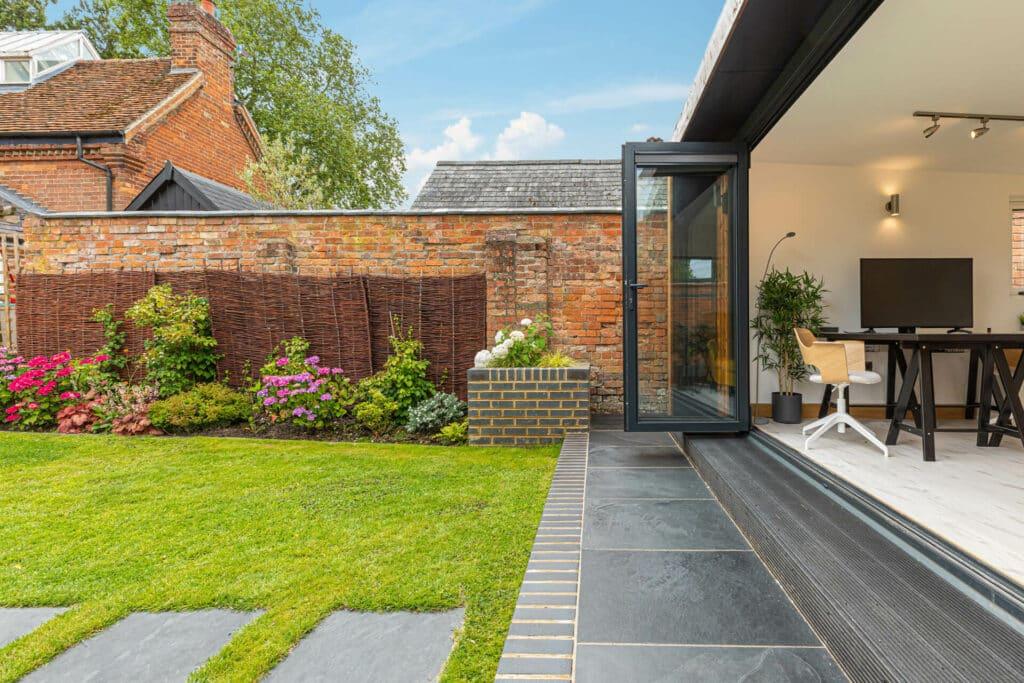 garden office with bi-fold doors