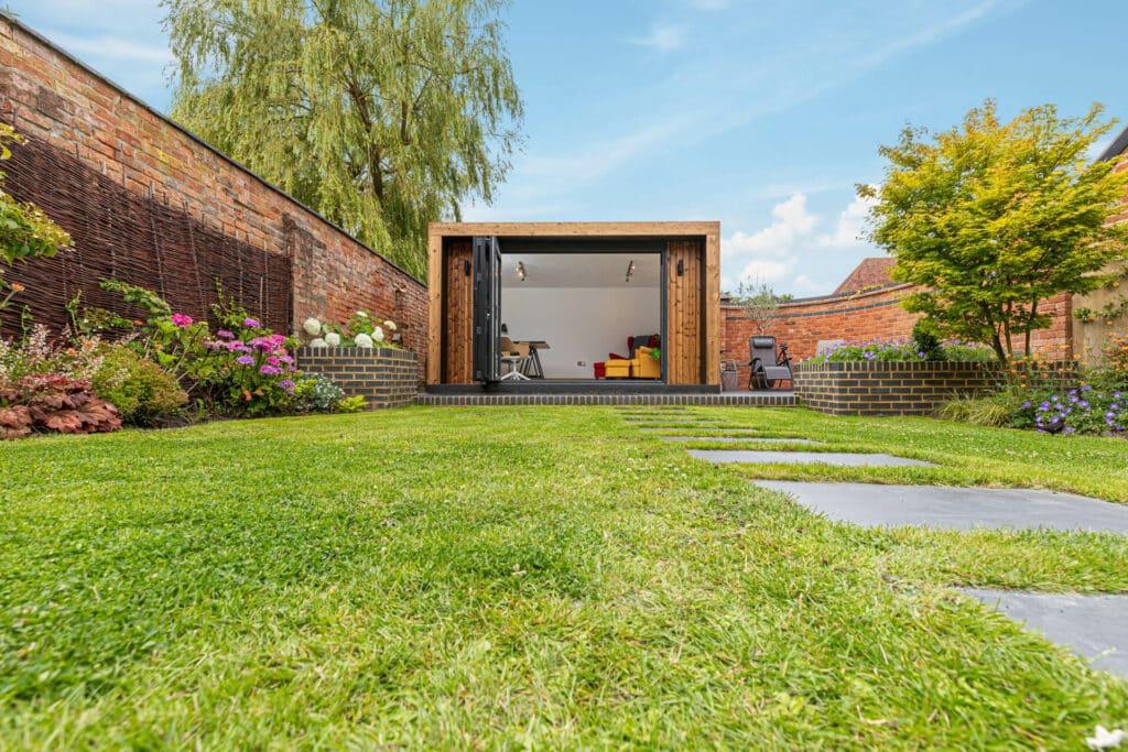 garden office in enclosed garden