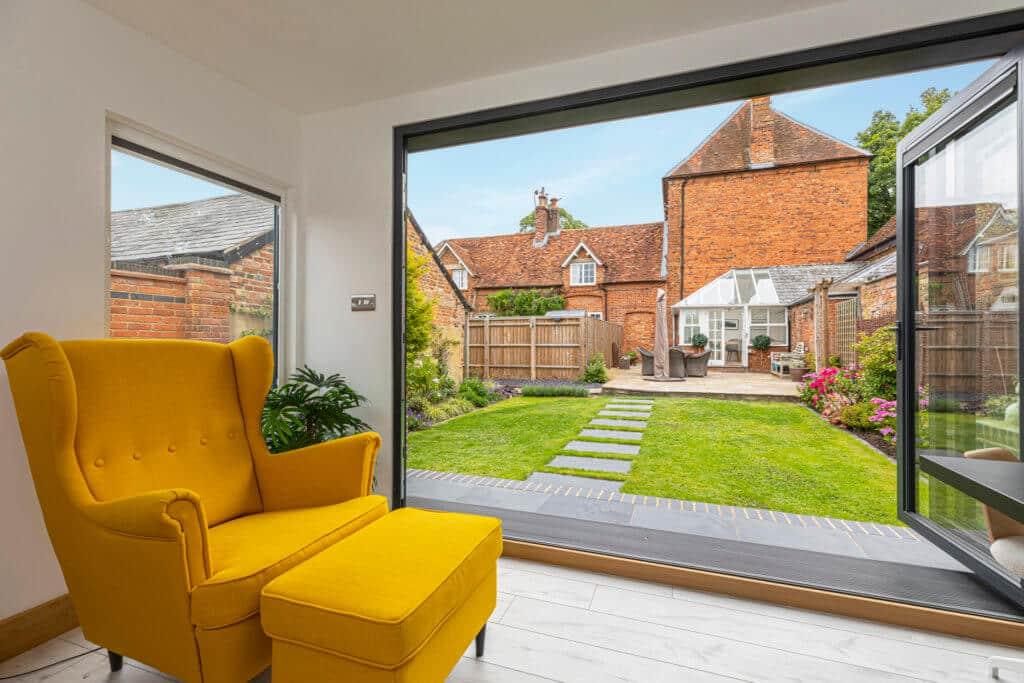 views from garden room with bi-fold doors
