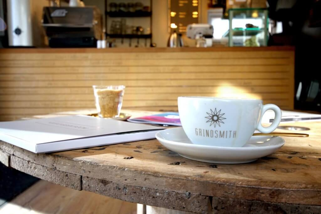 grindsmith logo mug coffee