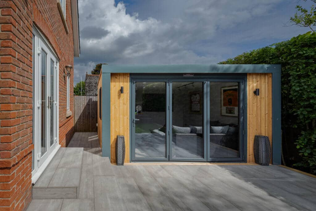 Exterior of Inspiration man cave with bi-fold doors closed