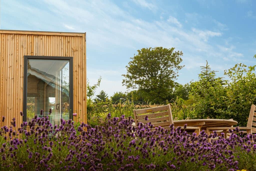 English garden with contemporary garden room