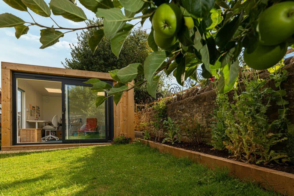 garden art studio with apples