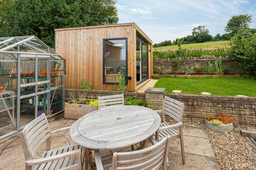 modern garden room with slatted cladding