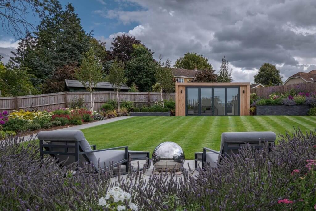 modern garden furniture and garden room