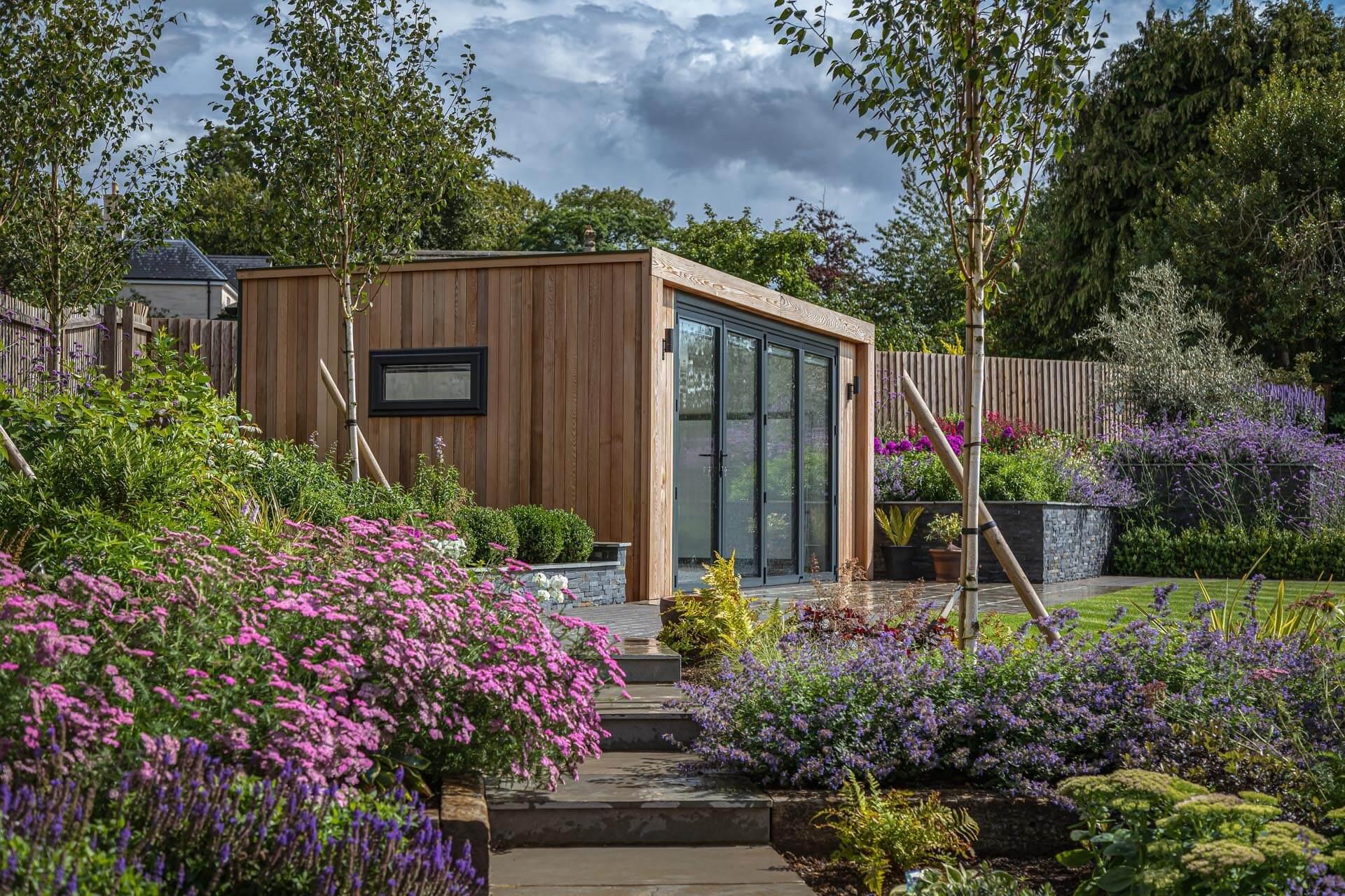 garden room in planted garden