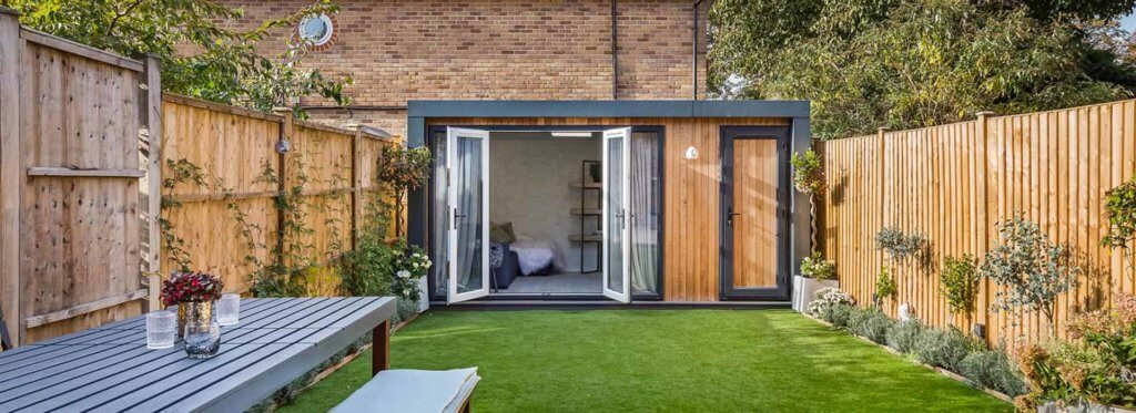 Tidy garden with garden chill out room