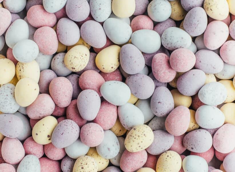 mini eggs all on background
