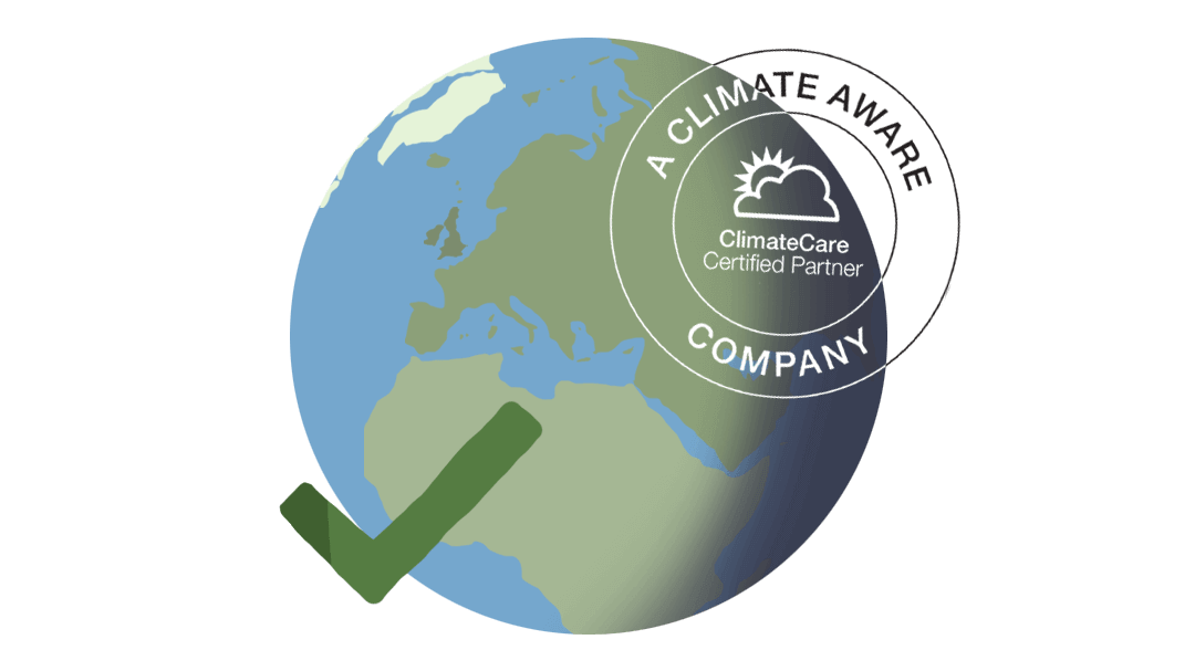 Illustration of the globe with a green tick and ClimateCare logo