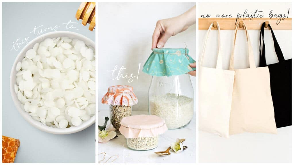 Image of beeswax pellets, beeswax wraps and hanging canvas tote bags