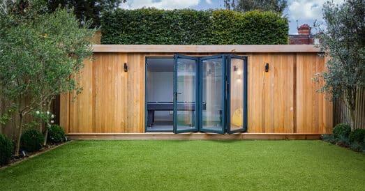 garden room with doors open