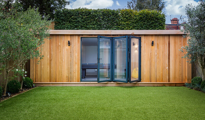 garden room with doors open