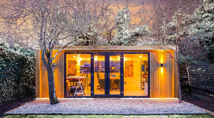 garden room with snow