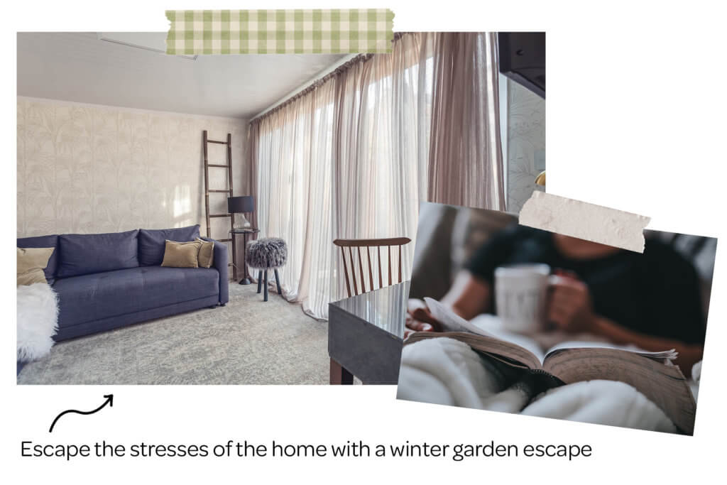 Collage of a winter garden room and someone reading a book