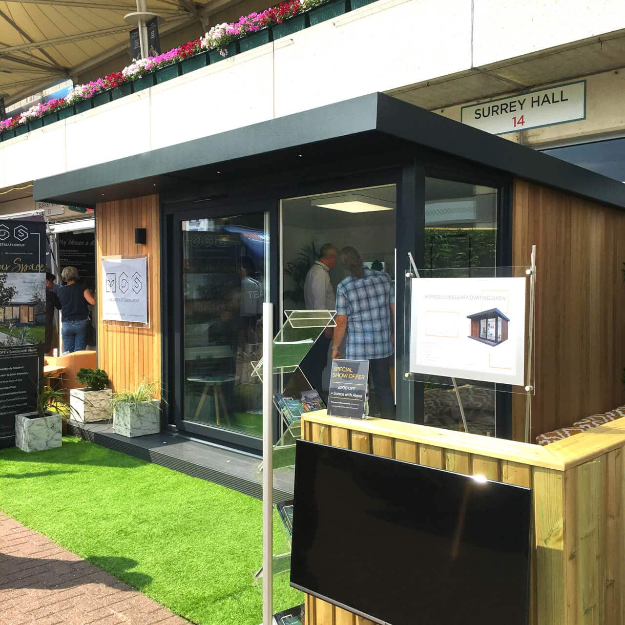 A 4m x 3m TGO1 garden room at The Homebuilding and Renovating Show 2018.