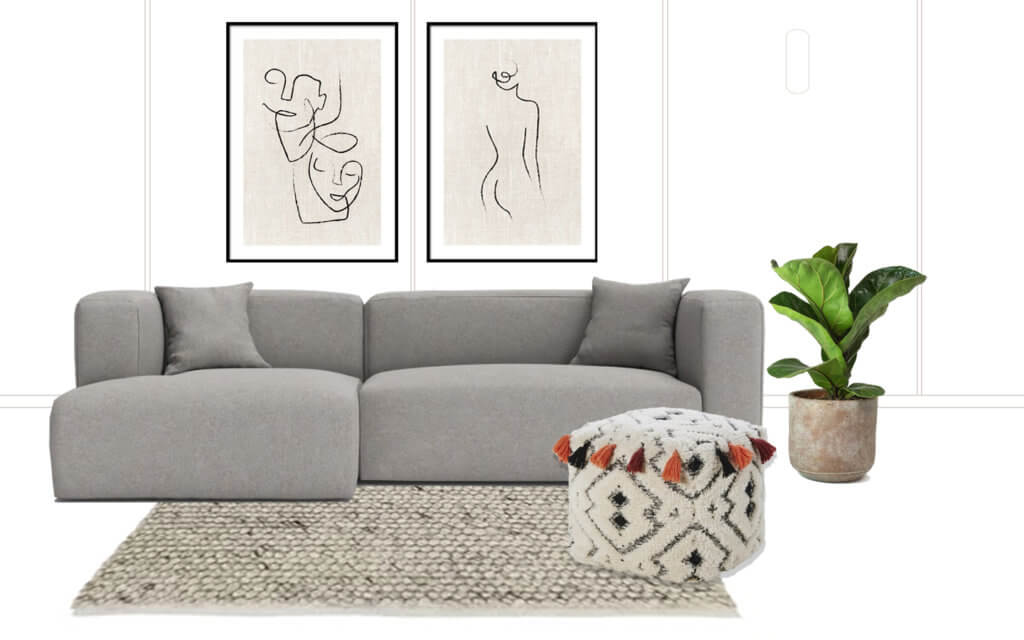 roomwith grey sofa, pouffe with tassels, natural rug, fiddle leaf fig tree and two framed prints