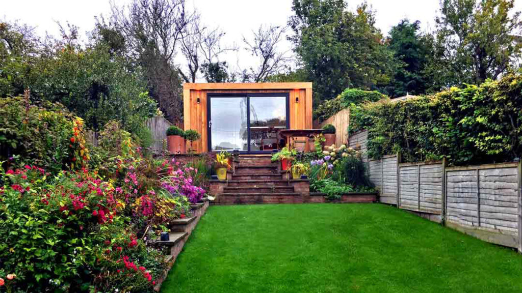 Exterior of Inspiration art studio in a landscaped garden